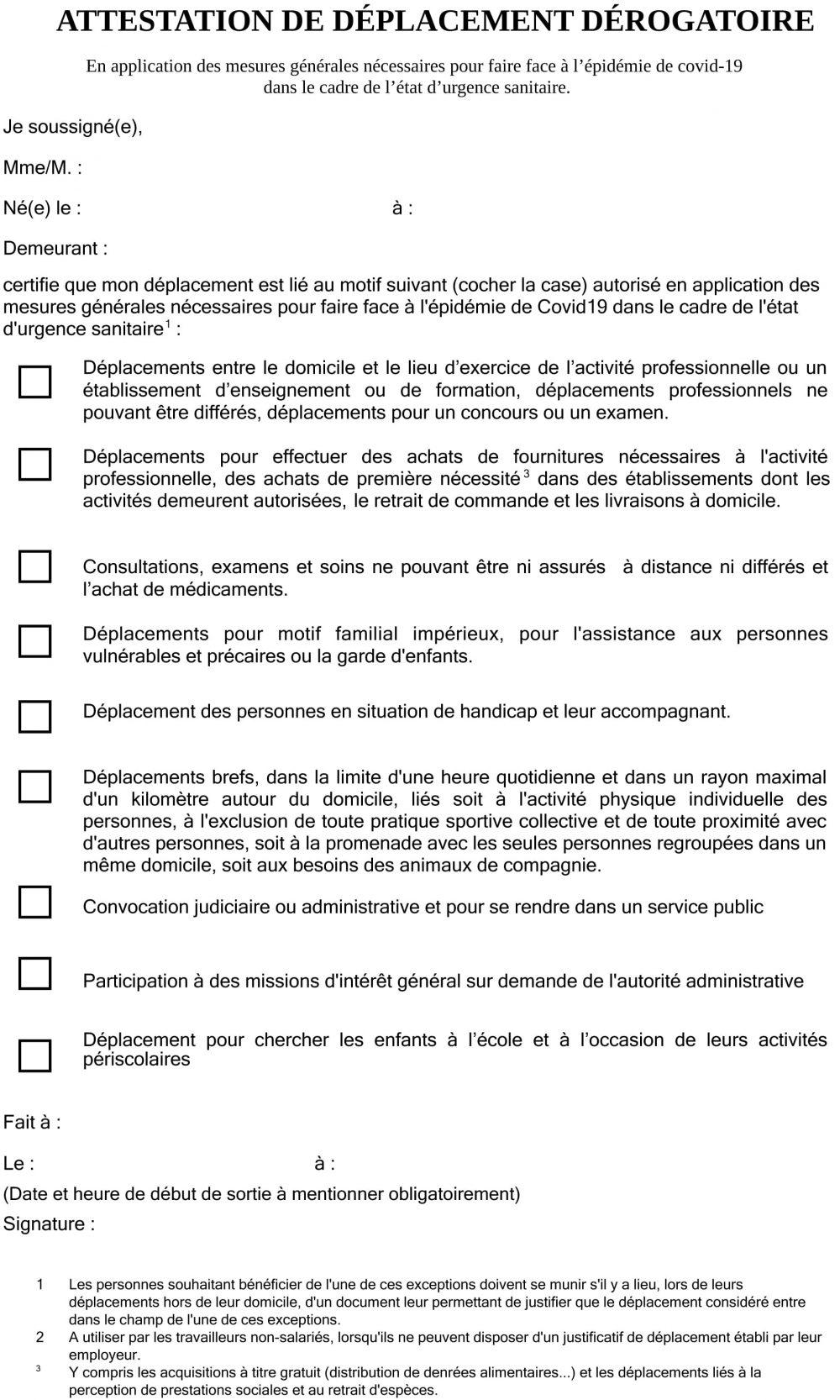 Attestation De Deplacement Derogatoire 30 Octobre 2020 Brou Sur Chantereine