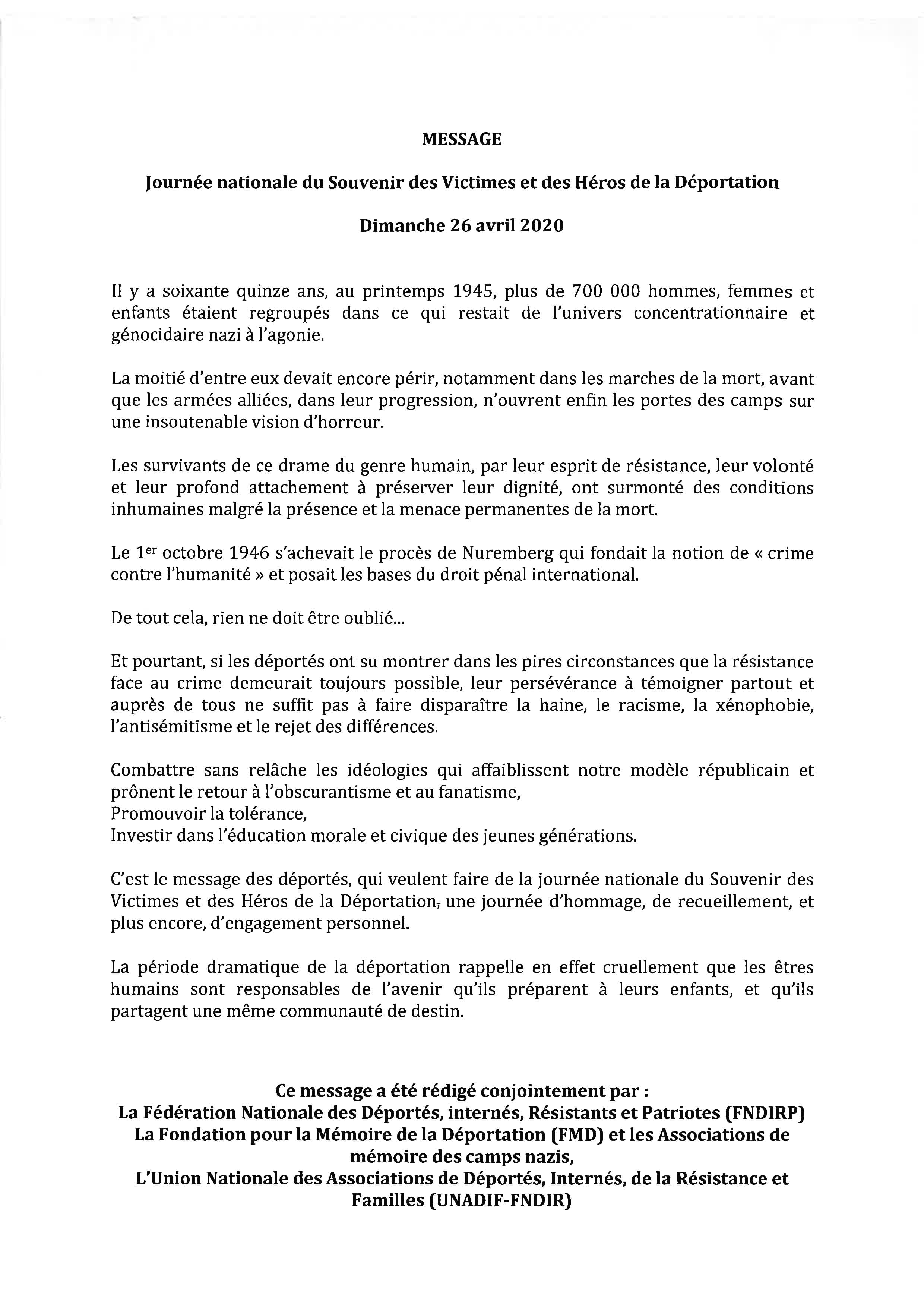 Message 2020 Souvenir Déportation